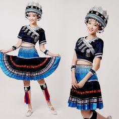 Girls Chinese Minority Folk Clothing Tujia Miao Yao Dance Costume Zhuang Suit   eBay