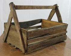 Vintage Style Handmade Tobacco Stick Garden Hod Caddy Crate Carrier #NaivePrimitive #ironworks28672