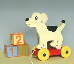 GreenChickens on Etsy - Wooden Dog Pull Toy, Black and White, Non-Toxic, Old-Fashioned Style