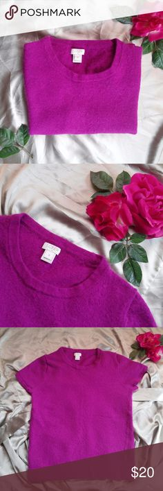 J. Crew Factory Purple Short Sleeve Sweater Size M. Viscose/nylon/merino wool. Hits at hip. Hand wash. Reasonable Offers Accepted :) If you have a questions please leave a comment, Thank you! :D J. Crew Factory Sweaters