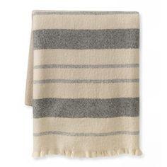 Multi Stripe Throw, Ivory/Gray #williamssonoma