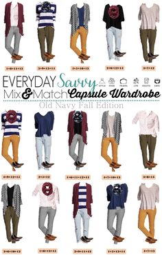 I love this new Old Navy capsule wardrobe for fall. It includes colored pants, stripes and even a shirt dotted with a fox! This set has just 15 pieces including 2 pairs of shoes.