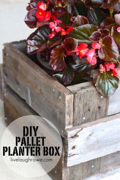 DIY Pallet Planter Box with livelaughrowe.com #diy #pallets #planterbox