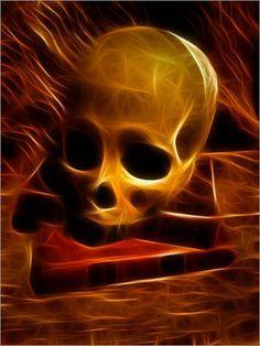 Skull on books by Jean-Louis Bouzou