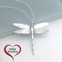 Silver Dragonfly Necklace, Sterling Silver Dragonfly Jewelry, Graduation Gift, Large Dragon Fly Pendant, Necklaces for Women