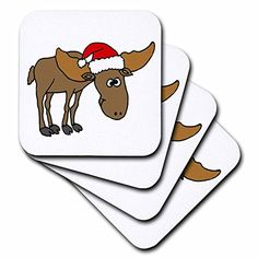All Smiles Art Christmas - Funny Cute Moose Wearing Santa Claus Hat - set of 8 Coasters - Soft (cst_200107_2) 3dRose http://www.amazon.com/dp/B00NVXCLJ6/ref=cm_sw_r_pi_dp_zrd4wb1NHSQ0J