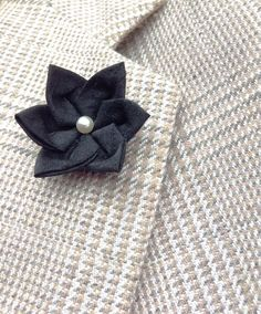 Lapel Pins Mens Lapel Pin Flower Lapel Pin Black Lapel Flower Fathers Day Dad Gift For Him Kanzashi Brooch Groomsman Custom Boutonniere by exquisitelapel on Etsy https://www.etsy.com/listing/508648528/lapel-pins-mens-lapel-pin-flower-lapel