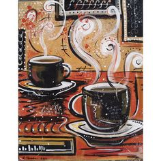 Coffee painting canvas acrylic original one of a kind ❤ liked on Polyvore