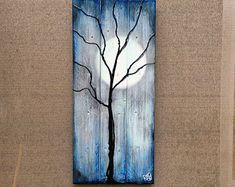 Tree and Winter Moon Painting on Reclaimed Wood The Nights Of The Season By Rafi Perez Pallet Crafts, Pallet Art, Wood Crafts, Pallet Beds, Moon Painting, Painting On Wood, Tree Painting Easy, Reclaimed Wood Art, Barn Wood
