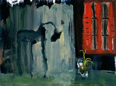 """John Lurie """"Panther Outside Of House As Photographed By Abraham Zapruder"""" , watercolor and oil pastel on clayboard, 18""""x24"""""""