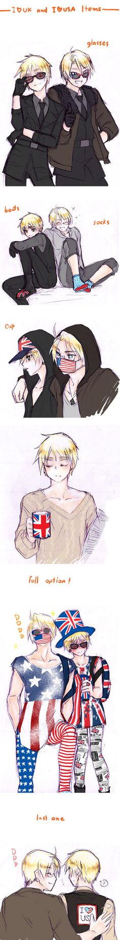 aph I love UK, I love USA Item by mikitaka on deviantART>>>> now I don't exactly ship them but this was halarios and cute so...