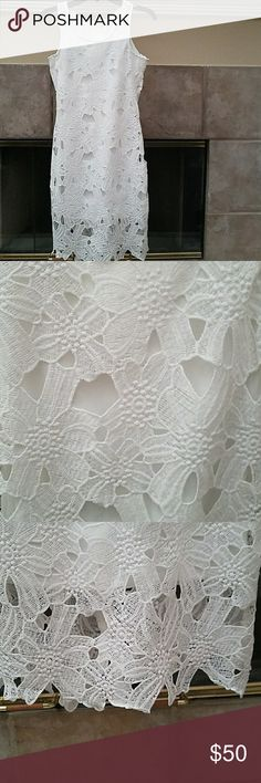 Nwt white lace summer dress New, with tags attached, white lace summer dress, in women,s  size small. This dress has a back zippered entry. Dresses Midi