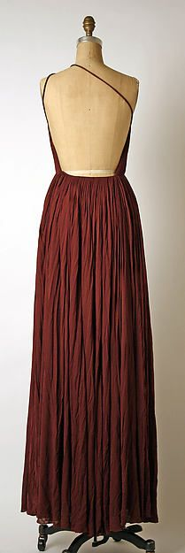 Evening dress Designer: Madame Grès (Alix Barton) (French, Paris 1903–1993 Var region) Date: late 1960s–mid-1980s Culture: French Medium: silk Dimensions: (a) L. at center back 62 in. (157.4 cm) (b) L. at center back 44½ in. (113 cm) Credit Line: Gift of Chessy Rayner, 1997