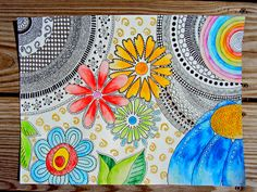 Draw Doodle and Decorate: Using watercolor pencils with zentangle…. Doodles Zentangles, Tangle Doodle, Tangle Art, Zen Doodle, Zentangle Patterns, Ecole Art, Flower Doodles, Zen Art, Doodle Drawings