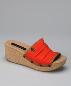 Take a look at this Orange Yvana Wedge Slide by Calvin Klein on #zulily today!