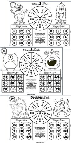 Monster Multiplication Games ~ 25 Print and Play Bingo Dabber Games to 10 X 10 Bingo Dabber, Math Bingo, Multiplication Games, Maths Puzzles, Play Math Games, Math Activities, Bingo For Kids, After School Tutoring, Math Work