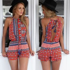 Red National Style Romper Playsuit