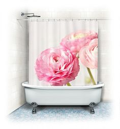 Ranunculus Fabric Shower Curtain Trio Whitepinkbathroomhome Decorpastel Flowersnaturefloral Curtainshabby Chic