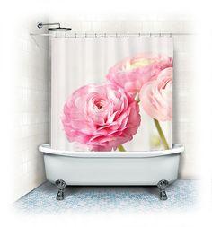 "Fabric Shower Curtain ""Ranunculus trio"" white, pink, bathroom, home decor, pastel flowers, nature,floral shower curtain"