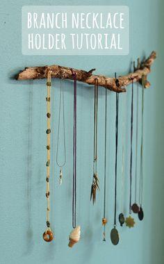 DIY: branch necklace holder