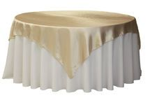 "Square 72"" Satin Table Overlay - Champagne"
