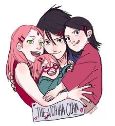 Sasuke, Sakura and their children......the second daughter needs to be canon