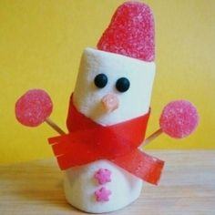 Marshmallow snowman- edible craft for Christmas season