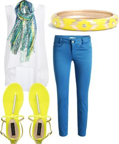 """""""Blue and Yellow, Blue and Yellow"""" by taylorjanae22 on Polyvore"""