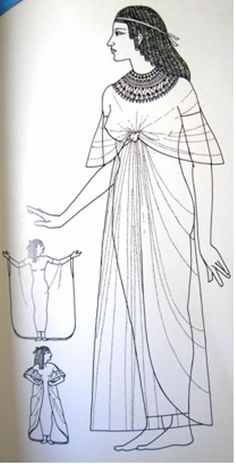A noble woman from the Old or Middle Kingdom would wear a Kalasaris- a simple transparent long dress. Ancient Egyptian Clothing, Ancient Egypt Fashion, Egyptian Fashion, Egyptian Women, Egyptian Art, Egyptian Dresses, Historical Costume, Historical Clothing, Egyptian Costume