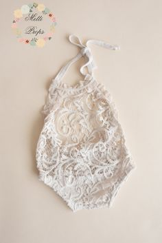 Lace Natural Romper with Frills Newborn Baby Sitter by MettiProps