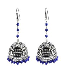 Silvestoo India High Trendz Traditional Treated Lapis Beads Jhumki Earrings - Indian Jewelry - Dandiya Jewellery PG-101022   https://www.amazon.co.uk/dp/B06XYN2LDK