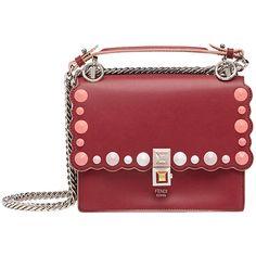 Fendi Kan I shoulder bag (€1.770) via Polyvore featuring bags, handbags, shoulder bags, red, red shoulder handbags, red handbags, red studded purse, burgundy purses und studded purse