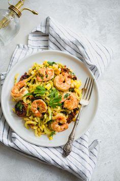 Shrimp, Chorizo and Corn Saffron Zucchini Pasta. Add a bit of paprika before serving?