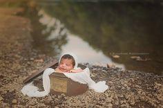 Outdoor Newborn photography. Outdoor Newborn posing ideas. Outdoor Newborn posing ideas by the river. Newborn in antique tin can posing ideas outdoors. Newborn Photographer Bucks County PA | Doylestown PA