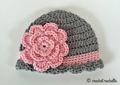 Crochet Rochelle: Pretty Baby Beanie [Karen: good pattern, mine turned out a bit large, Baby Beanie Crochet Pattern, Crochet Baby Blanket Beginner, Crochet Cap, Beanie Pattern, Baby Knitting, Crochet Patterns, Crochet Flower, Booties Crochet, Crochet Crafts