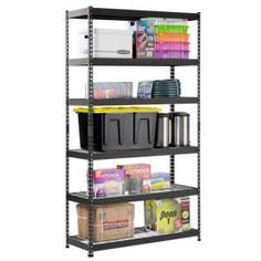 HDX Gray 5-Tier Plastic Garage Storage Shelving Unit (36 in. W x 72 in. H x 24 in. D)-128974 - The Home Depot Cheap Storage Shelves, Garage Storage, Steel Shelving Unit, Ladder Bookcase, Neutral Colors, Husky, The Unit, Furniture, Plastic
