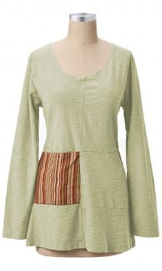 Patch Tunic - This tunic length tops has a flattering scoop neckline and is…