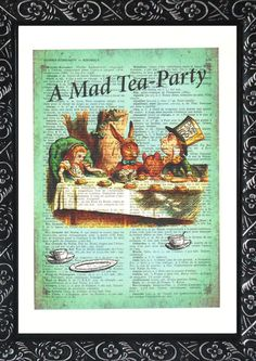 Alice in wonderland decorations winter gifts the a mad tea party on an vintage dictionary page Alice in wonderland poster wall decor (170)