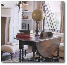 Antique globe on a barley twist drop leaf table, from Mr. Decor, Home, Drop Leaf Table, Interior Inspiration, Furniture, Circular Table, Interior Design, Interior Spaces, House Interior