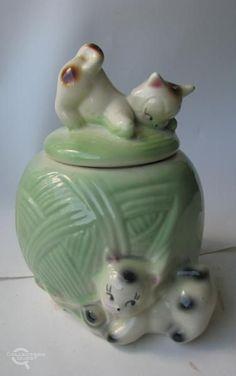3db19df9191 Vintage american Bisque Cookie Jar in green Candy Jars