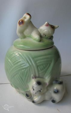 Vintage american Bisque Cookie Jar in green