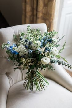 Bridal Bouquet / White / Shades of Blue / Barnacles / Thistle / Euco / Roses / Nat . Bridal bouquet / white / shades of blue / barnacle / thistle / euco / roses / natural … Thistle Bouquet, Blue Flowers Bouquet, Bridal Bouquet Blue, Blue Wedding Flowers, Bride Bouquets, Flower Bouquet Wedding, Floral Wedding, Purple Bouquets, Bridesmaid Bouquets