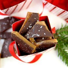 The Tastiest Homemade Christmas Gift: Chocolate Sea Salt Toffee - yum! Christmas Sweets, Christmas Candy, Christmas Crack, Christmas Tree, Holiday Baking, Christmas Baking, Candy Recipes, Holiday Recipes, Homemade Candies