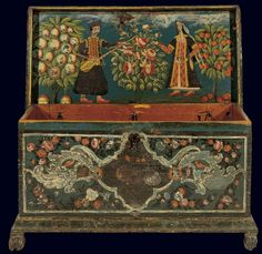 Wooden container with painted decoration of floral themes on the outer sides and representation of a couple inside the cover. From Lesvos, late 18th-early 19th century. © Benaki Museum