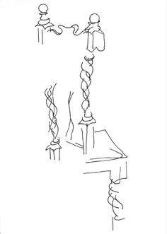 """""""Dining Room Chair"""". Black and White Art Print by Art is Autobiographical. This is a blind contour drawing which is a technique used to help develop communication between the hand and the eye. Contour means that you draw the outline of the item and doing it 'blind' means that you don't look at what you are drawing. £15.00"""