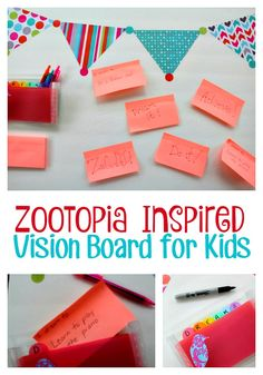 Help your kids set goals for themselves with this Zootopia inspired vision board for kids craft- with supplies from the dollar store!