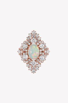 "Dior Fine Jewelry, Dior et d'Opales ""Etincelante"" Ring in pink gold, diamonds and light opal Price U. - Courtesy of vendor Dior Jewelry, Opal Jewelry, Jewelery, Traditional Engagement Rings, Perfect Engagement Ring, October Birth Stone, Pink And Gold, Diamond Earrings, Bling"