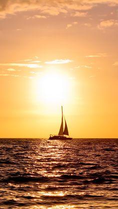 Ship On Sunset Sea  #iPhone #7 #wallpaper