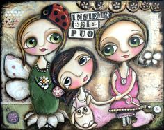 Mixed media art three little child with big eyes and a little white dog. Together we can.