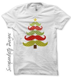 Iron on Christmas Shirt PDF Mustache Tree by ScrapendipityDesigns